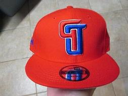 "DETROIT PISTONS ""NEW ERA 9FIFTY"" HAT FLAT RIM  NWT $32 RED R"