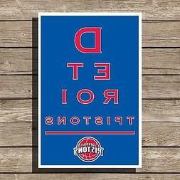 Detroit Pistons Art Basketball NBA Eyechart Poster Man Cave