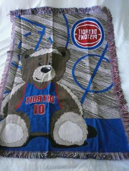"""Detroit Pistons Baby Throw Blanket OFFICIAL NBA 46"""" x 36""""  ~"""