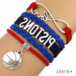 Detroit Pistons Basketball Infinity Bracelet NBA Charm QUALI