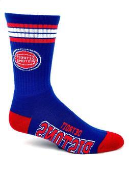 For Bare Feet Detroit Pistons Blue 4 Stripe Deuce Crew Socks