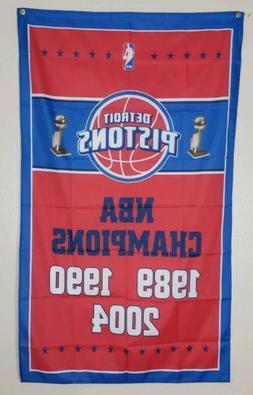 Detroit Pistons Championship Banner 3x5 Ft Flag Man Cave Dec