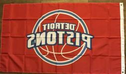 Detroit Pistons Flag 3x5 NBA Banner Man Cave Basketball