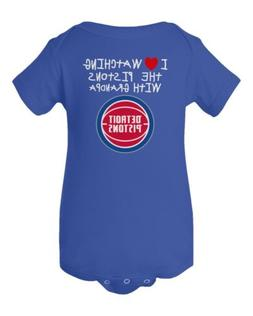 Detroit Pistons Love Watching With Grandpa Baby Short Sleeve