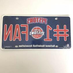 Detroit Pistons NBA #1 Fan Metal Front Novelty License Plate