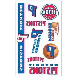 DETROIT PISTONS NBA Temporary Tattoos 1 Sheet of 7 Wincraft