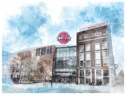 Detroit Pistons Poster Architectural Design Art Print Man Ca