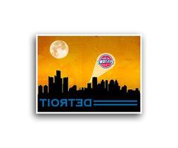Detroit Pistons Poster City Skyline Art Print Man Cave Decor