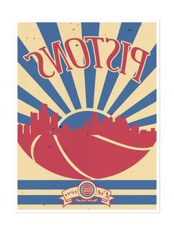 Detroit Pistons Poster Sunset Design Art Print Man Cave Deco