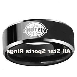 Detroit Pistons Sports Ring 8MM Tungsten Black With Silver E