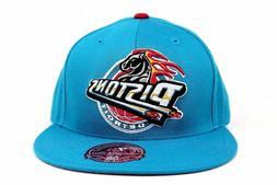 Detroit Pistons Teal Blue Red Under-visor NBA Mitchell & Nes