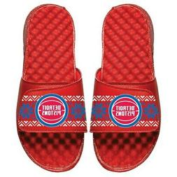 Detroit Pistons ISlide Ugly Sweater Slide Sandals - Red