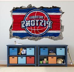 Detroit Pistons Wall Art Decal 3D Smashed Basketball NBA Wal