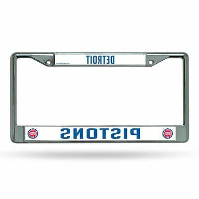 detroit pistons nba chrome metal license plate