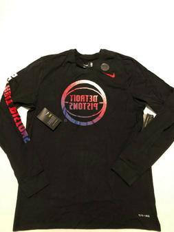 Nike Mens  Detroit Pistons Black Black Long Sleeve Shirt Nik