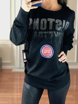 NBA Detroit Pistons Pullover Decorative Crystal Wordmark Swe