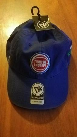 nwtg's DETROIT PISTONS ROYAL CAP 47 BRAND CLEAN UP STRAPBACK